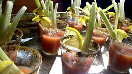Oyster shooters made with Madge's Food Co. Fermented Bloody Mary Mix were one of several nibbles found at the San Antonio Cocktail Conference.