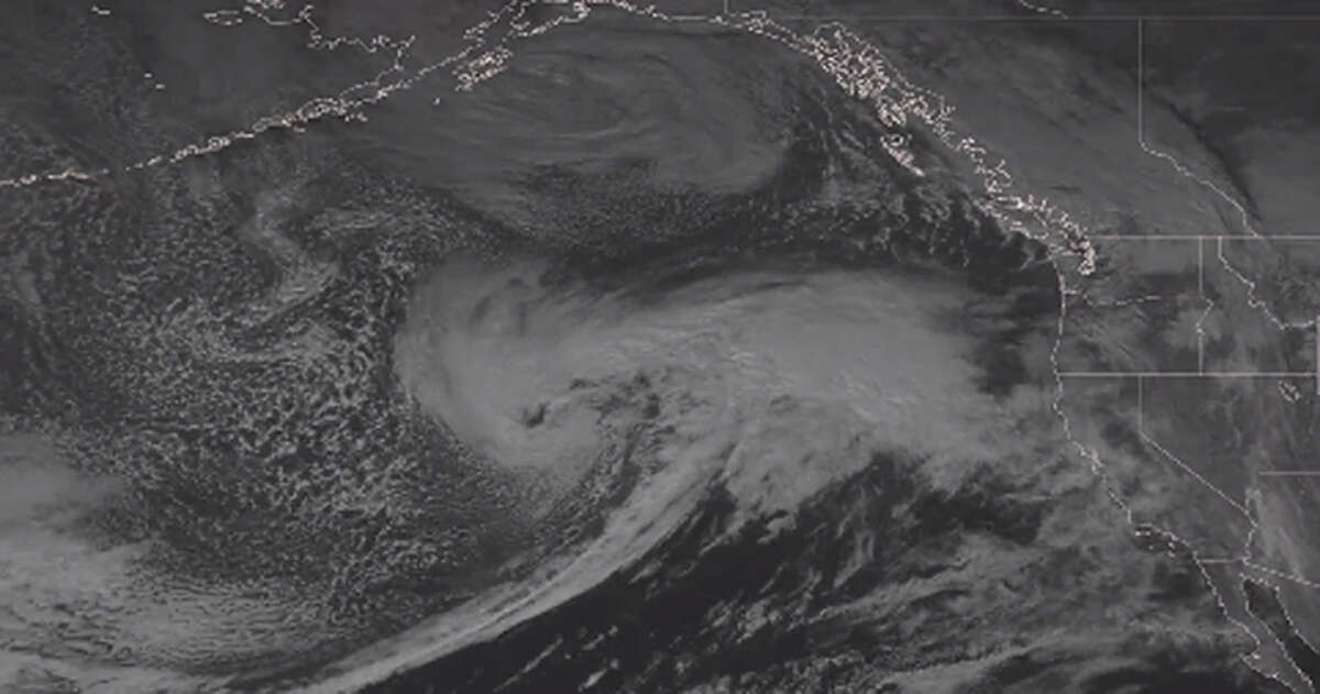 The National Weather Service released an image on Twitter of the hurricane-force low-pressure system in the eastern Pacific Ocean that is set to deliver waves up to 40 feet around the Bay Area.