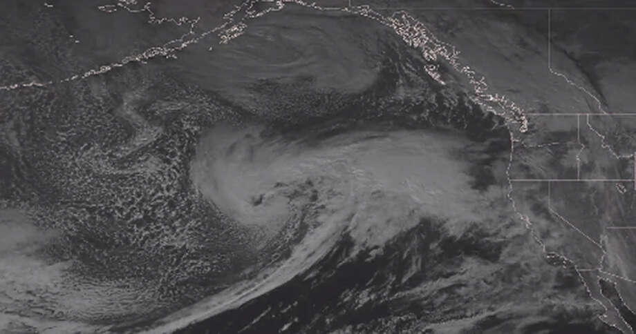The National Weather Service released an image on Twitter of the hurricane-force low-pressure system in the eastern Pacific Ocean that is set to deliver waves up to 40 feet around the Bay Area. Photo: National Weather Service