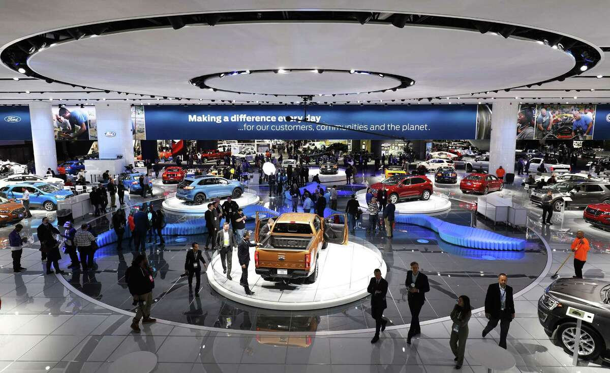 The Ford exhibit is shown at the 2018 North American International Auto Show January 16, 2018 in Detroit, Michigan. More than 5,100 journalists from 61 countries attend the NAIAS each year. The show opens to the public January 20th and ends January 28th.