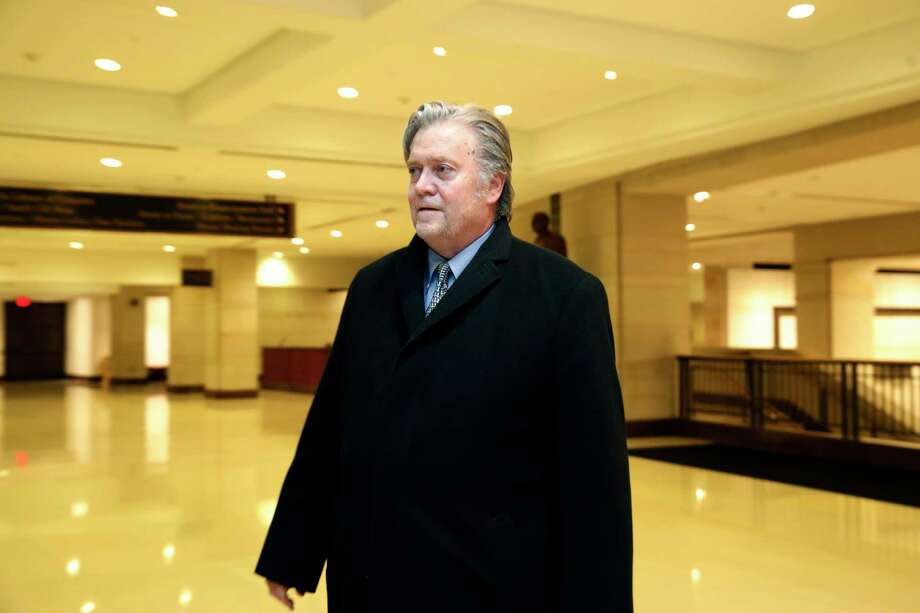 Former White House strategist Steve Bannon leaves a House Intelligence Committee meeting where he was interviewed behind closed doors on Capitol Hill, Tuesday, Jan. 16, 2018, in Washington. (AP Photo/Jacquelyn Martin) Photo: Jacquelyn Martin, STF / Copyright 2018 The Associated Press. All rights reserved.