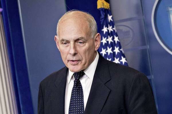 "White House Chief of Staff John Kelly, seen here in October, told members of the Congressional Hispanic Caucus and House Minority Whip Steny Hoyer on Wednesday that ""the president is committed to a permanent solution to DACA."""