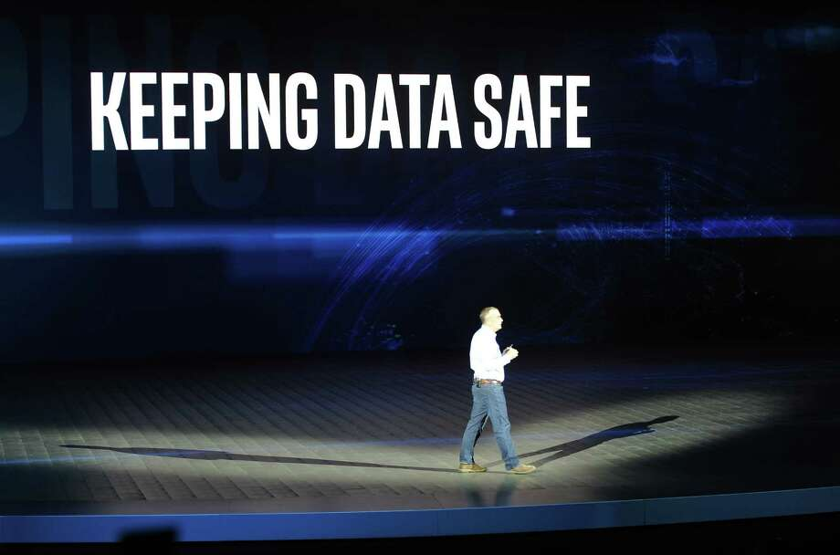 Intel CEO Brian Krzanich, speaking at the CES technology fair in Las Vegas last week, faces calls for an SEC investigation after he sold company shares after learning of cybersecurity flaws in Intel chips. Photo: Andrej Sokolow/DPA, MBR / Zuma Press