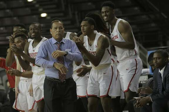 Houston Cougars bench celebrates withhead coach Kelvin Sampson after a scored basket against Temple Owls at TSU's H&PE Arena on Saturday, Dec. 30, 2017, in Houston. ( Elizabeth Conley / Houston Chronicle )