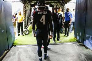 Houston Texans quarterback Deshaun Watson (4) gets ready to run onto the field before an NFL football game against the Cleveland Browns at NRG Stadium on Sunday, Oct. 15, 2017, in Houston. ( Brett Coomer / Houston Chronicle )
