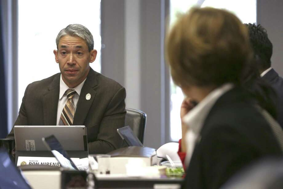 San Antonio Mayor Ron Nirenberg, left, listens during a recent meeting. A task force agreed Wednesday that San Antonio should increase disclosure requirements for those who make contributions. Photo: William Luther /San Antonio Express-News / © 2018 San Antonio Express-News