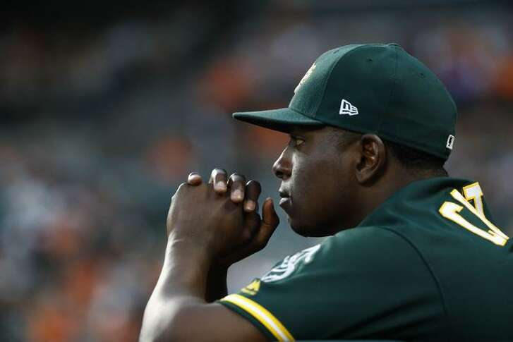 Above: A's starter Jharel Cotton stands in the dugout in the first inning of a baseball game against the Baltimore Orioles in Baltimore, Tuesday, Aug. 22, 2017. (AP Photo/Patrick Semansky)