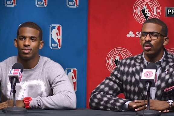 Chris Paul (left) is a professional basketball player who may or may not have led his current team (the Houston Rockets) through a secret tunnel to fight his former team (the Los Angeles Clippers) on Monday night. Cliff Paul (right) is Chris' twin brother from those old State Farm commercials, who may or may not be real.