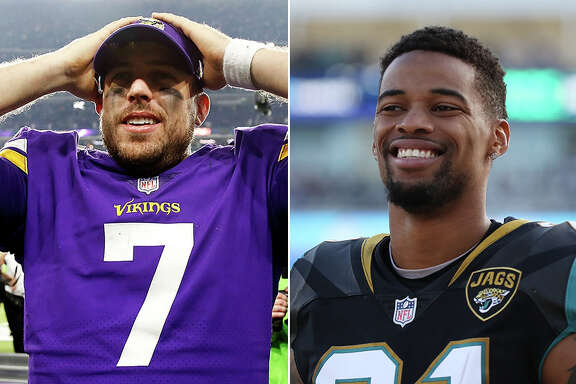 Vikings quarterback Case Keenum (left) and Jaguars cornerback A.J. Bouye are among those in the NFL's final four with ties to Houston. Both spent multiple seasons with the Texans before finding greater success elsewhere.