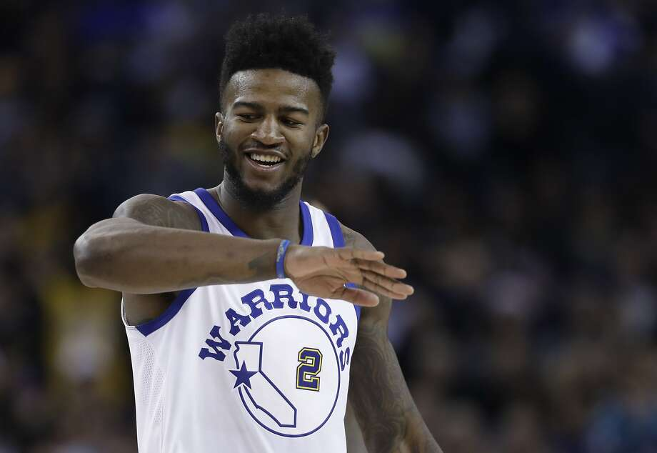 Golden State Warriors forward Jordan Bell (2) reacts after scoring against the Los Angeles Lakers during the first half of an NBA basketball game Friday, Dec. 22, 2017, in Oakland, Calif. (AP Photo/Marcio Jose Sanchez) Photo: Marcio Jose Sanchez, Associated Press