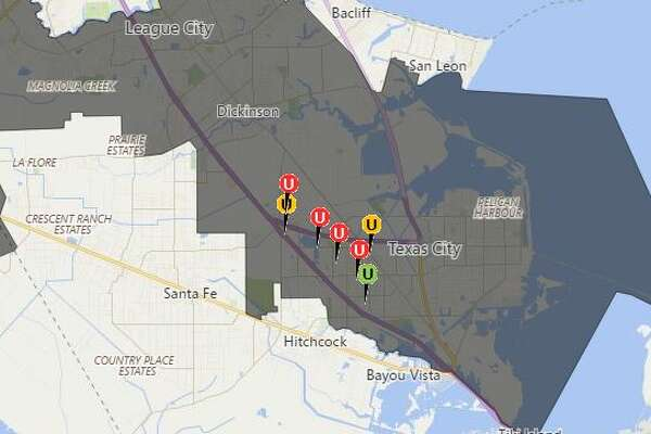 Texas-New Mexico Power is reporting that 8,379 customers are without power in and around Texas City as of 7:30 p.m. The initial outage as smaller, but crews had to intentionally cut power off to more customers in order to make repairs safely, the company said in a tweet. Repairs are expected to be complete by 8:30 p.m.