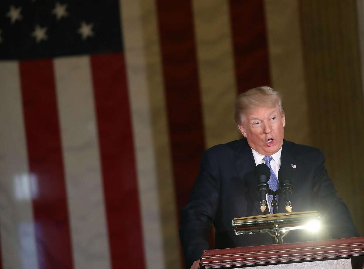 WASHINGTON, DC - JANUARY 17: U.S. President Donald Trump speaks during a ceremony where former Senate Majority Leader Bob Dole (R-KS), recieved the Congressional Gold Medal at the U.S. Capitol, on January 17, 2017 in Washington, DC. (Photo by Mark Wilson/Getty Images)