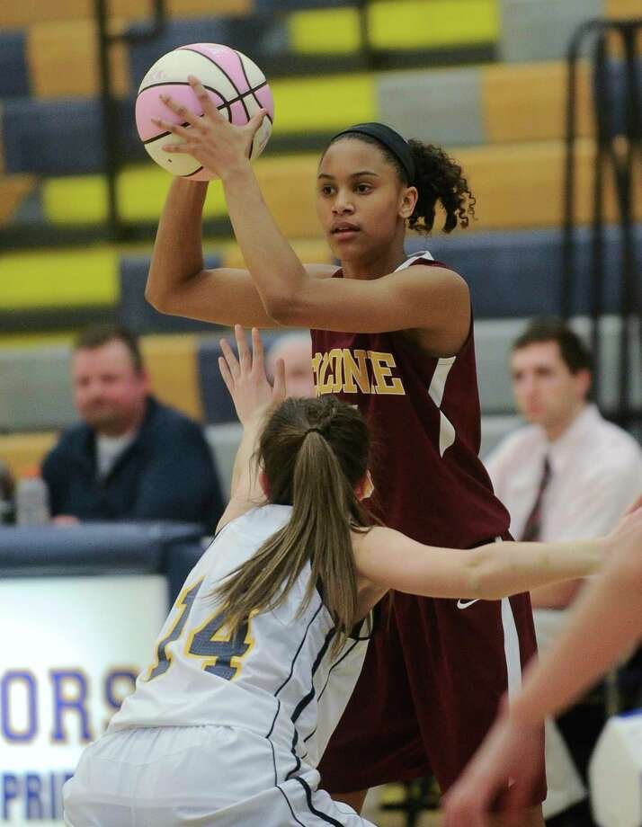 Colonie's Kyara Triblet ,top, is defended by Averill Park's Lena Piche during the first half of a girls' high school basketball game in Averill Park, N.Y., Friday, Jan. 6, 2017. (Hans Pennink / Special to the Times Union) ORG XMIT: HP110 Photo: Hans Pennink / Hans Pennink