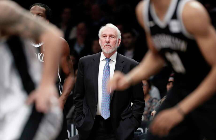 San Antonio Spurs head coach Gregg Popovich watches his team play during the first half of an NBA basketball game against the Brooklyn Nets Wednesday, Jan. 17, 2018, in New York. (AP Photo/Frank Franklin II) Photo: Frank Franklin II, Associated Press / Copyright 2018 The Associated Press. All rights reserved.