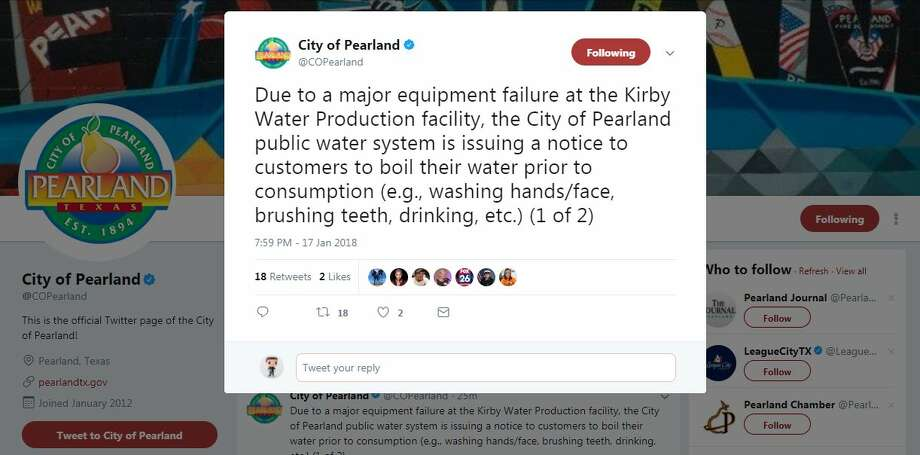 The city of Pearland issued a boil water notice Wednesday evening after a major water plant failure. via Twitter Photo: @COPearland