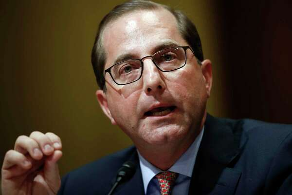 FILE - In this Jan. 9, 2018, file photo, Alex Azar testifies during a Senate Finance Committee hearing on Capitol Hill in Washington. A Senate committee has signed off on Azar, President Donald Trump's pick for health secretary, clearing the way for final confirmation by the full Senate.  (AP Photo/Carolyn Kaster)