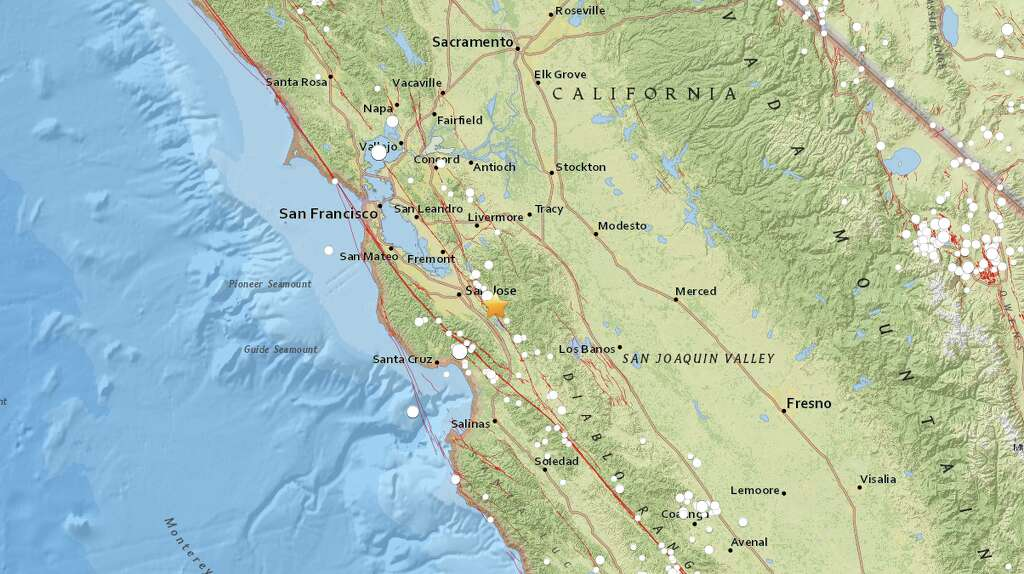 an earthquake measuring an initial magnitude 3 0 strikes about 10 miles north of morgan hill