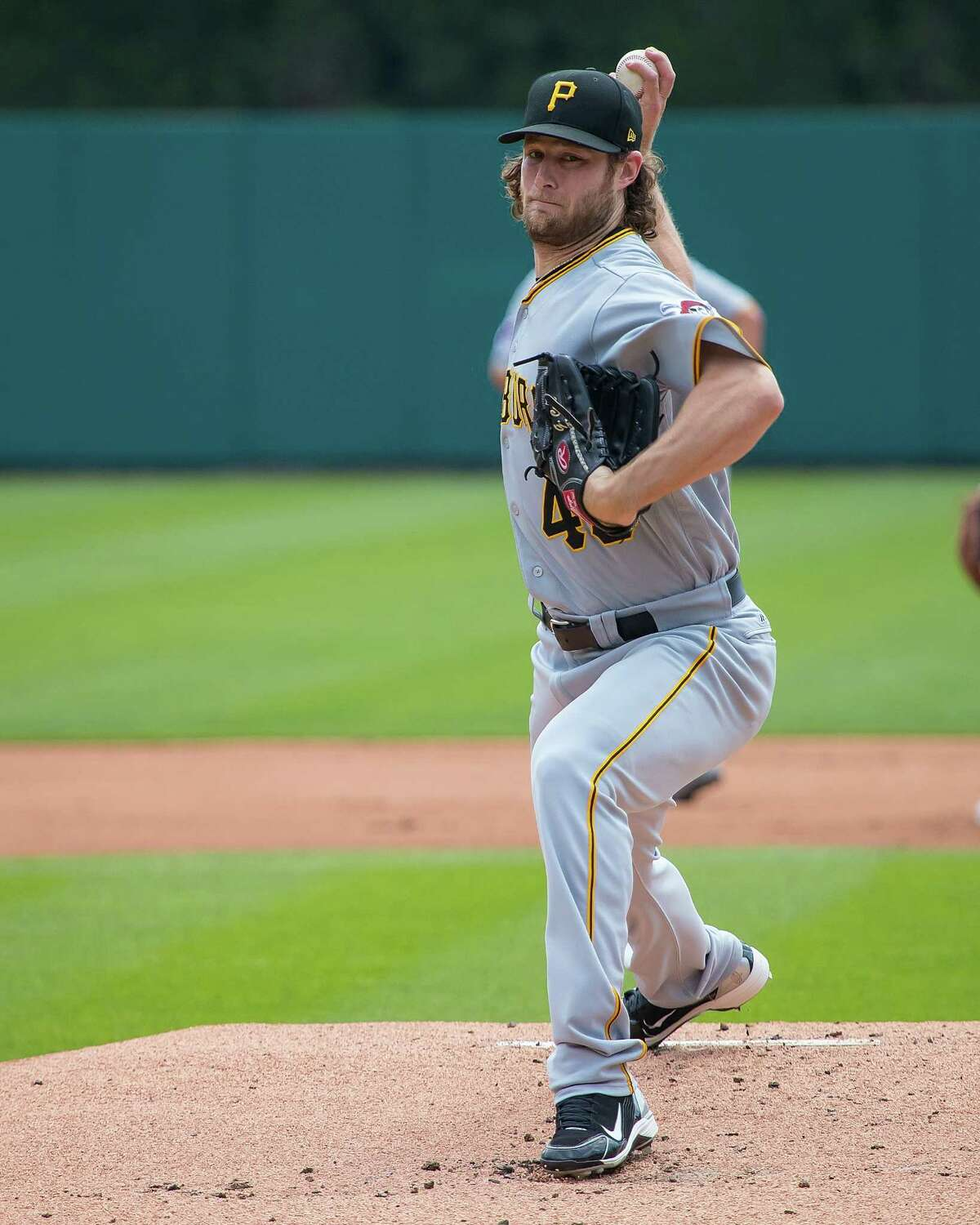 DETROIT, MI - AUGUST 10: Gerrit Cole #45 of the Pittsburgh Pirates warms up before a MLB game against the Detroit Tigers at Comerica Park on August 10, 2017 in Detroit, Michigan. The Pirates defeated the Tigers 7-5. (Photo by Dave Reginek/Getty Images)*** Local Caption *** Gerrit Cole
