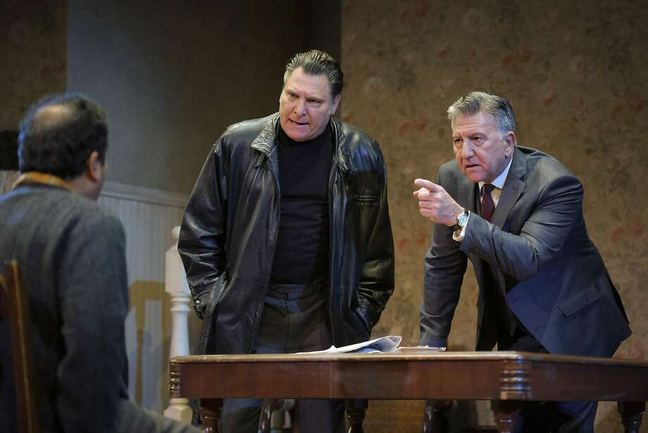 "McCann (Marco Barricelli, center) and Goldberg (Scott Wentworth, right) interrogate Stanley (Firdous Bamji, left) in ACT's ""The Birthday Party."" Photo: Kevin Berne, American Conservatory Theater"