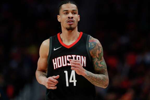 FILE - In this Jan. 6, 2018, file photo, Houston Rockets guard Gerald Green runs up court during the second half of an NBA basketball game against the Detroit Pistons in Detroit. Green and Trevor Ariza have both been suspended for two games for entering the Los Angeles Clippers' locker room after a game earlier this week to confront another player. The NBA announced the suspensions Wednesday, Jan. 17 (AP Photo/Carlos Osorio, File)