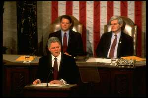 Pres. Bill Clinton delivering his State of Union address, framed by VP Al Gore (L) & House Speaker Newt Gingrich, on Capitol Hill.  (Photo by Diana Walker//Time Life Pictures/Getty Images)