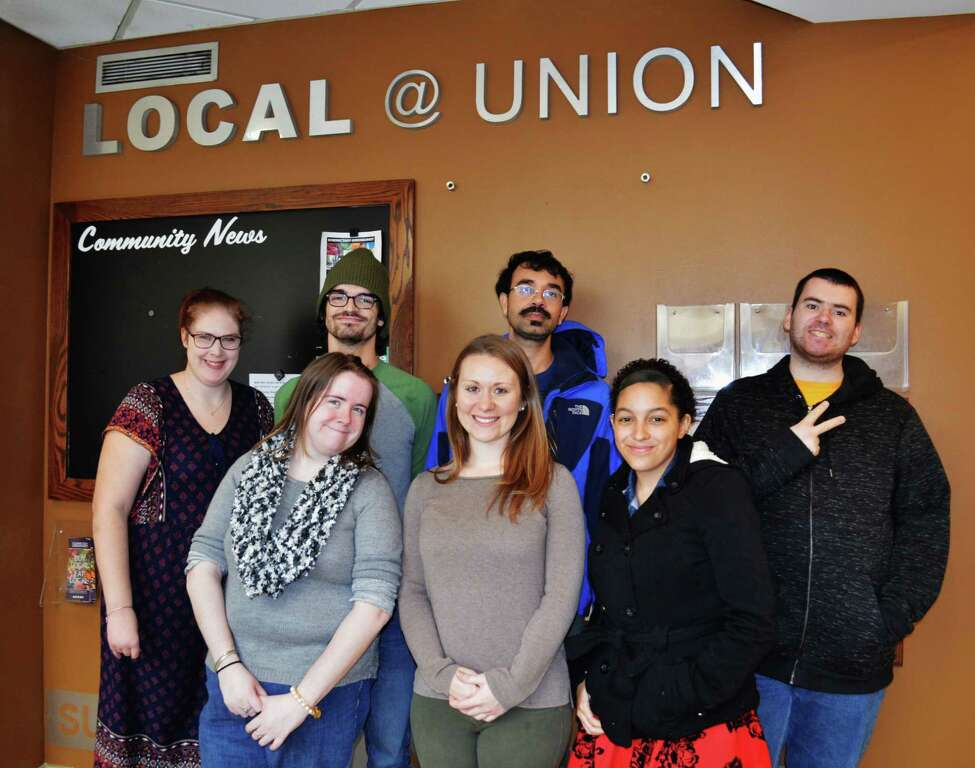 Students from Schenectady ARC's Discovery Academy pose at Union College. In the front row from left are Michelle Grignon, Kristina Collins (program coordinator) and Bonnie Corpening. Back row from left are Phoebe Hester, Jim Papaliosas (ARC staff member) Rahman Khan and Christian Waring. (Submitted photo)