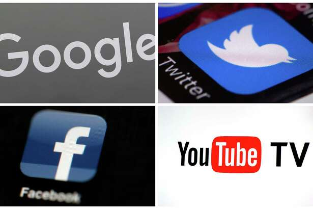 This photo combo of images shows, clockwise, from upper left: a Google sign, the Twitter app, YouTube TV logo and the Facebook app. On Wednesday, Jan. 17, 2018, lawmakers grilled executives from Facebook, Google's YouTube and Twitter about what the companies are doing to prevent extremists and terrorists from using their platforms to spread propaganda and hate and recruit new followers. Lawmakers acknowledged that the companies, especially Google and Facebook, have come a long way when it comes to weeding out terrorist content. But they said more needs to be done. (AP Photo)