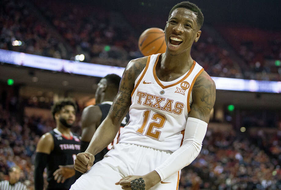 Texas guard Kerwin Roach II (12) celebrates a basket against Texas Tech at the Frank Erwin Center in Austin, Texas, on Wednesday, Jan. 17, 2018. The host Longhorns won, 67-58. Photo: Nick Wagner, TNS / Austin American-Statesman