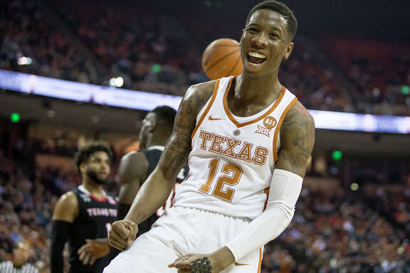 Texas guard Kerwin Roach II (12) celebrates a basket against Texas Tech at the Frank Erwin Center in Austin, Texas, on Wednesday, Jan. 17, 2018. The host Longhorns won, 67-58.