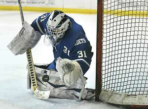 La Salle Institute goalie Casey Boone makes a save during a hockey game against Shenendehowa on Wednesday, Jan. 17, 2018 in Clifton Park, N.Y. (Lori Van Buren/Times Union)