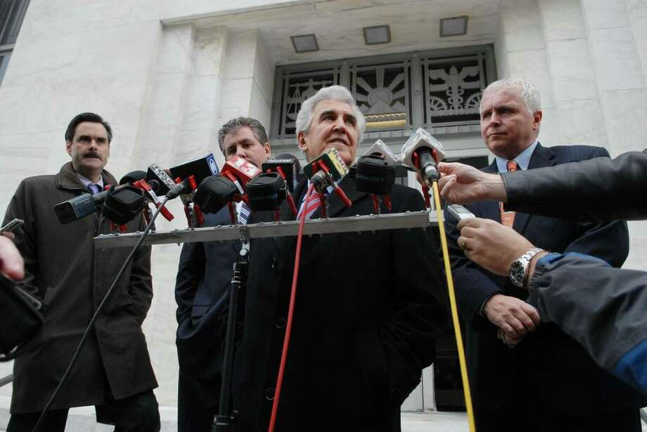 Ex-State Sen. Joseph Bruno talks to the media after exiting the federal courthouse in Albany, NY on Tuesday afternoon, Dec. 1, 2009.  The defense and prosecution were called back to the courthouse because the jury had asked for a read back of some testimony as they deliberate.   (Paul Buckowski / Times Union) Photo: PAUL BUCKOWSKI / 00006620A