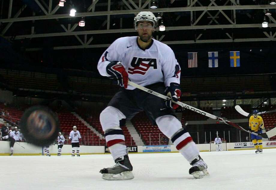 Nick Petrecki of Team USA skates against Team Sweden at the USA Hockey National Junior Evaluation Camp in August 2008 at the Olympic Center in Lake Placid (Bruce Bennett/Getty Images) Photo: Bruce Bennett / 2008 Getty Images