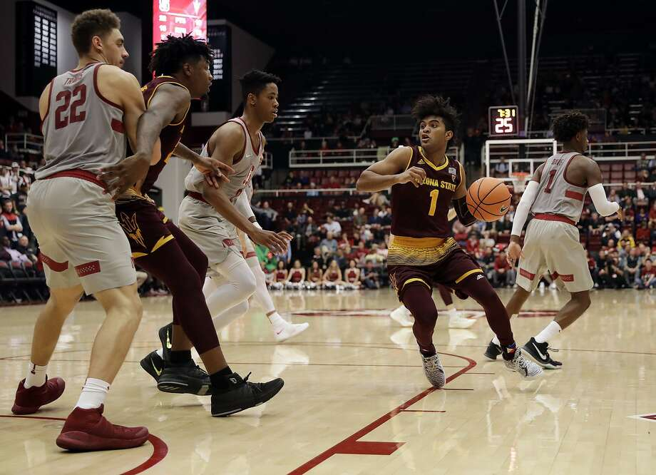 Arizona State guard Remy Martin (1) dribbles against Stanford during the first half of an NCAA college basketball game Wednesday, Jan. 17, 2018, in Stanford, Calif. (AP Photo/Marcio Jose Sanchez) Photo: Marcio Jose Sanchez, Associated Press