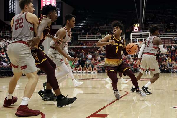 Arizona State guard Remy Martin (1) dribbles against Stanford during the first half of an NCAA college basketball game Wednesday, Jan. 17, 2018, in Stanford, Calif. (AP Photo/Marcio Jose Sanchez)