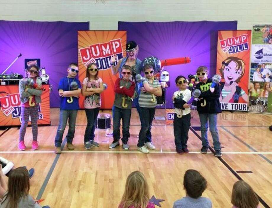 Through the 'Jump with Jill' program, Owendale-Gagetown School District students learned drinking milk, eating vegetables, and dancing is a cool way to stay healthy. (SubmittedPhoto)