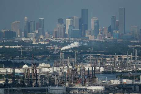 Aerial view of downtown Houston and chemical plants along the Houston Ship Channel Wednesday, September 7, 2016. ( Michael Ciaglo / Houston Chronicle )