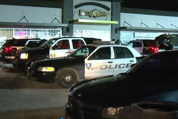 Three men led police on a chase after they were caught robbing a convenience store with a stolen car, police claim.
