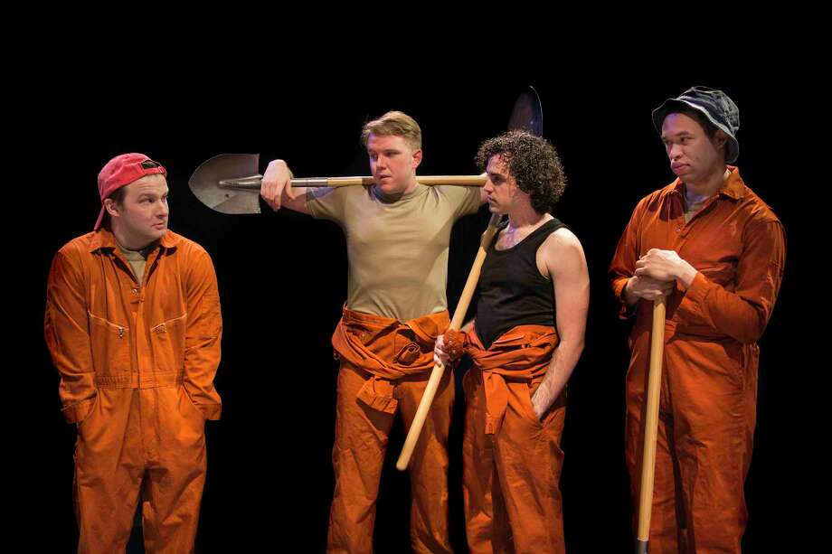 "From left to right, Stanley (Lex Laas), Tough Kid (Jonathan Teverbaugh), Zigzag (Bryan Kaplun), and Zero (Devin Norwood) in Main Street Theater's ""Holes."""