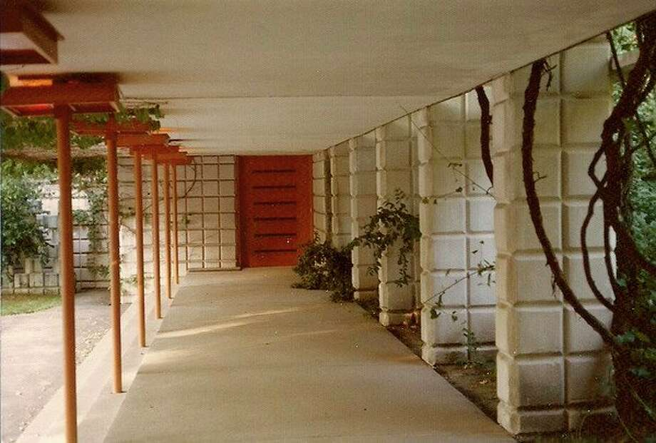 Below this concrete walkway is an underground tunnel that connects Alden B. Dow's home to his architectural studio. (Courtesy of the Alden B. Dow Home and Studio)