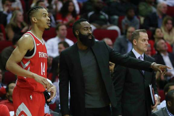 Houston Rockets guard Gerald Green (14) talks to James Harden (13) during the fourth quarter of the NBA game against the Portland Trail Blazers at Toyota Center on Wednesday, Jan. 10, 2018, in Houston. The Houston Rockets defeated the Portland Trail Blazers 121-112. ( Yi-Chin Lee / Houston Chronicle )