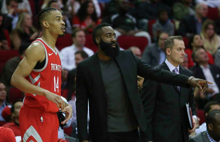 Houston Rockets guard Gerald Green (14) talks to James Harden (13) during the fourth quarter of the NBA game against the Portland Trail Blazers at Toyota Center on Wednesday, Jan. 10, 2018, in Houston. The Houston Rockets defeated the Portland Trail Blazers 121-112. ( Yi-Chin Lee / Houston Chronicle ) Photo: Yi-Chin Lee, Houston Chronicle / © 2018  Houston Chronicle