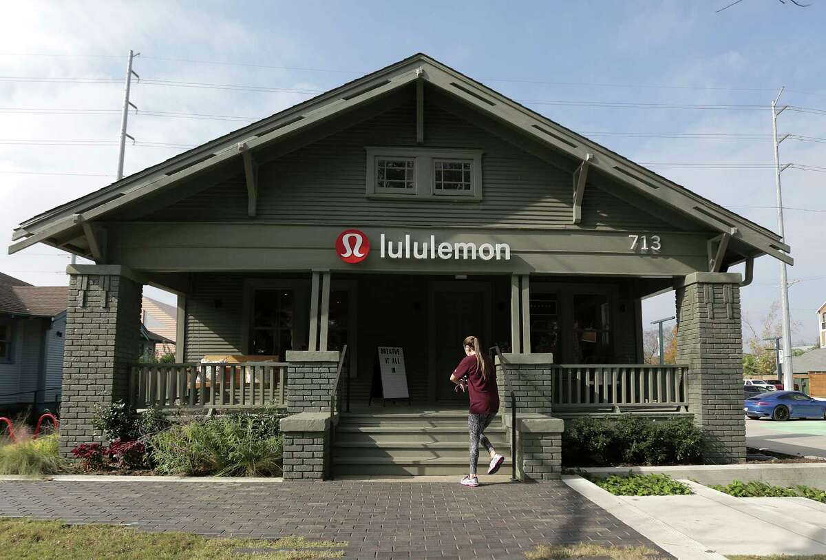 Lululemon (Heights Mercantile location shown here) hosts complimentary in-store yoga classes.