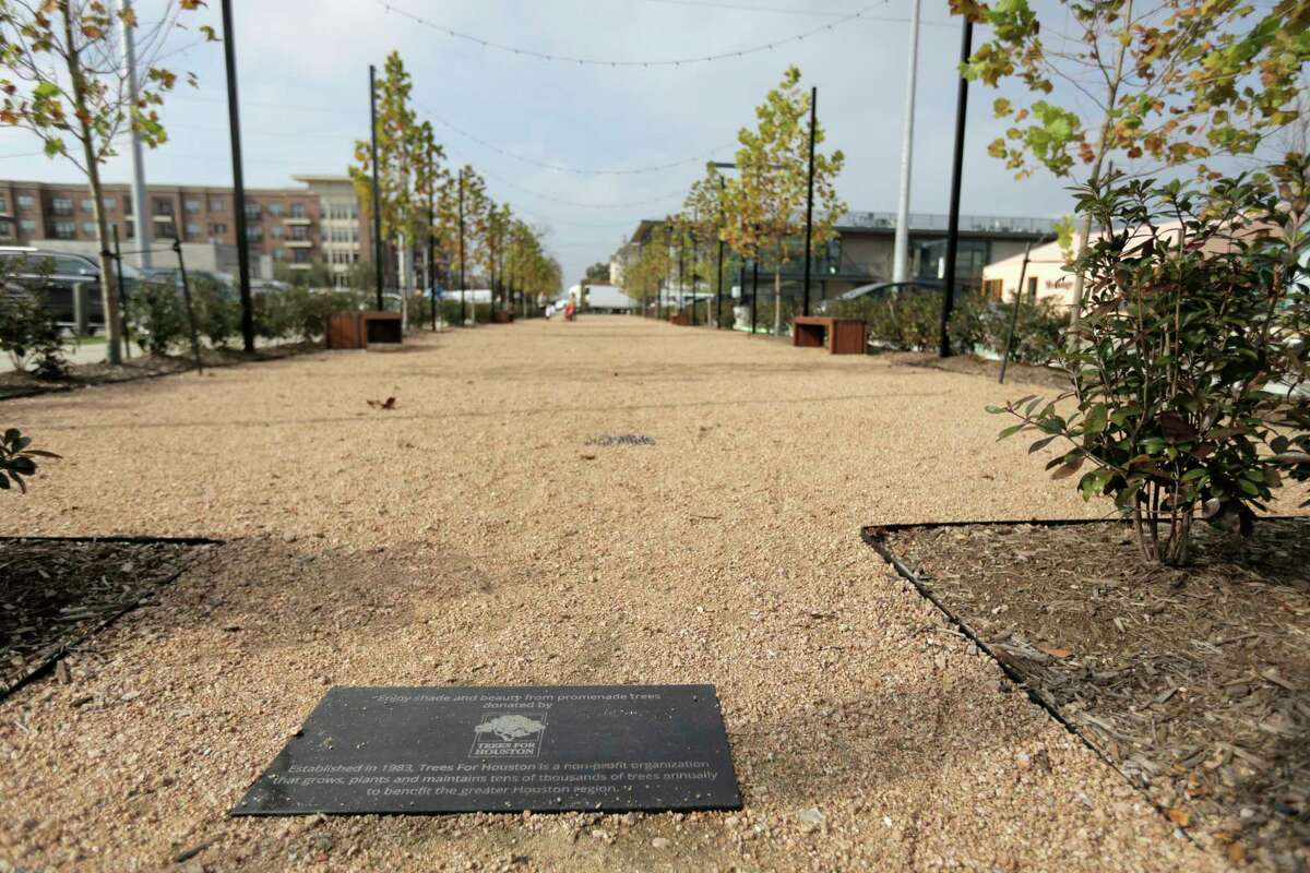 A promenade with trees planted by Trees for Houston runs down the heart of Heights Mercantile.