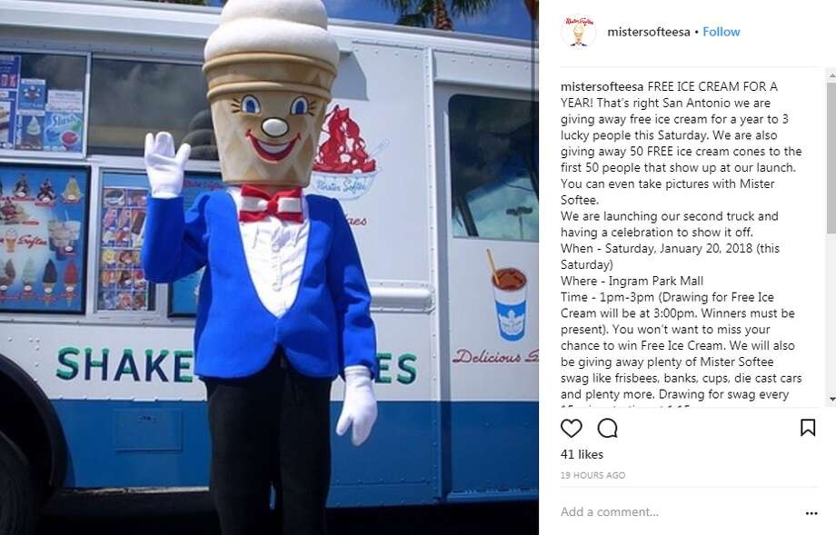 "@mistersofteesa: ""FREE ICE CREAM FOR A YEAR! That's right San Antonio we are giving away free ice cream for a year to 3 lucky people this Saturday. We are also giving away 50 FREE ice cream cones to the first 50 people that show up at our launch. You can even take pictures with Mister Softee.We are launching our second truck and having a celebration to show it off.When - Saturday, January 20, 2018 (this Saturday)Where - Ingram Park MallTime - 1pm-3pm (Drawing for Free Ice Cream will be at 3:00pm. Winners must be present). You won't want to miss your chance to win Free Ice Cream. We will also be giving away plenty of Mister Softee swag like frisbees, banks, cups, die cast cars and plenty more. Drawing for swag every 15 mins starting at 1:15pm.Saturday 1-3 at the newly remodeled Ingram Park Mall. We will be at the main entrance right outside JC Penny (we will post a diagram for location tomorrow). For all the other businesses, churches and communities that reached out to us for this event, we will be calling you to see if we can come out and see y'all."" Photo: Instagram/@mistersofteesa"