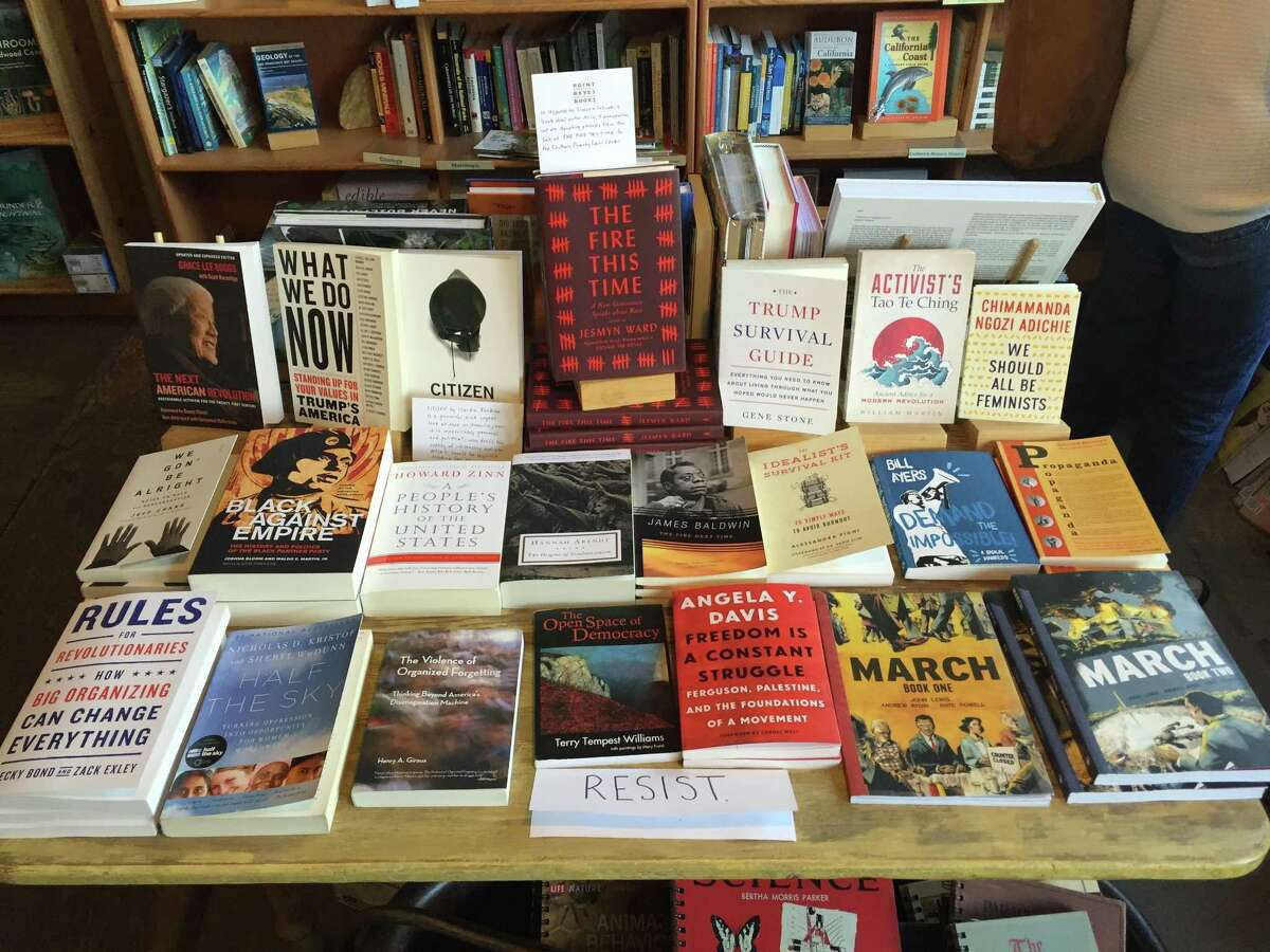 A display of books about political and other trypes of resistance at Point Reyes Books in Marin County, California.