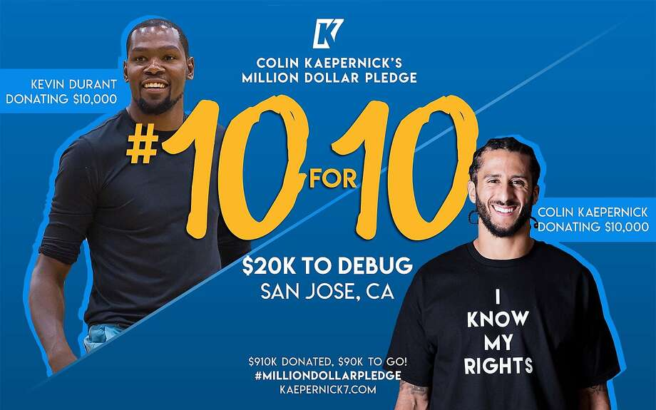 Colin Kaepernick and Kevin Durant announced on Twitter that they will each donate $10,000 to Silicon Valley De-Bug, a social justice and media organization in San Jose. Photo: Courtesy Of Colin Kaepernick's Website