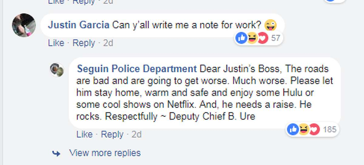 Seguin police wrote a funny work excuse for Justin Garcia during a winter storm in Central Texas.