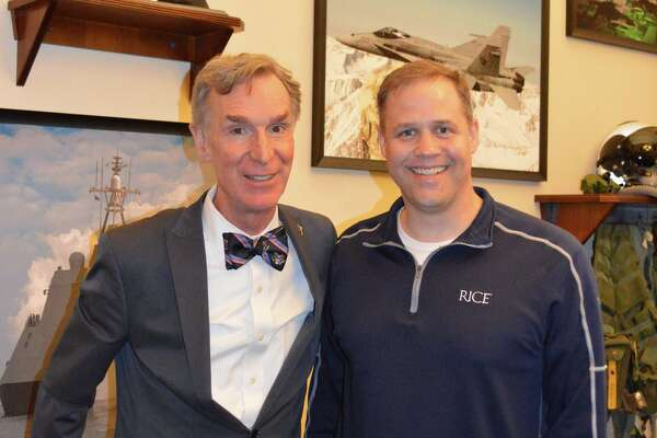 Bill Nye, left, will accompany Rep. Jim Bridenstine, R-Okla., to President Donald Trump's State of the Union address.