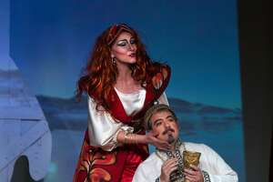 "Silvie Jensen (l.) and Igor Vieira in Rimsky-Korsakov's ""Kashchey the Immortal"" at Island City Opera"