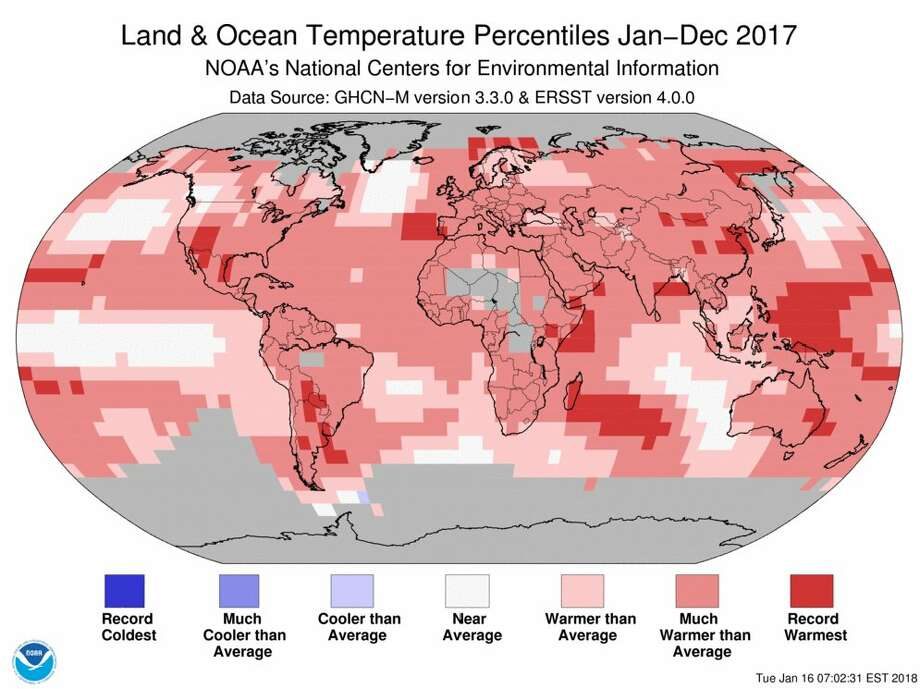 For the globe, 2017 was the third warmest year on record and the warmest year without an El Nino present. Photo: NWS
